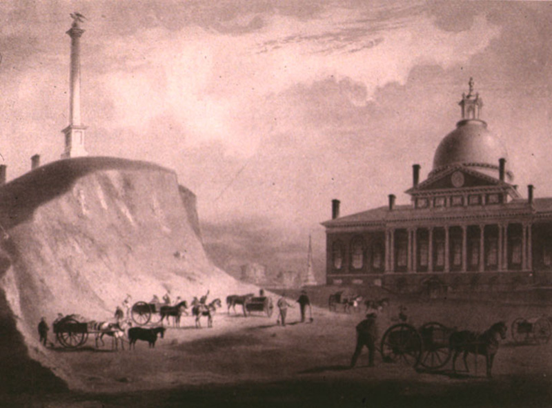Beacon Hill being cut away near the Massachusetts State House