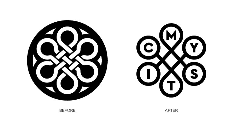 Mystic logo before and after