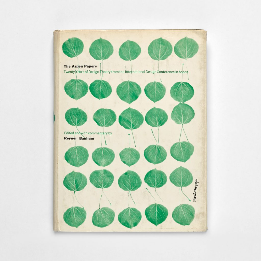 Book titled Aspen Papers. Six rows of five leaves create a loose grid on the cover