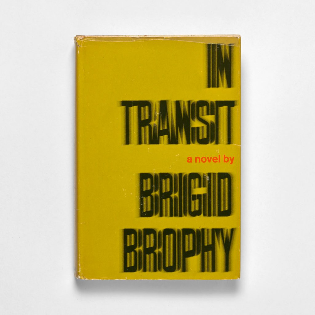 In Transit book cover where the text appears to be visually vibrating