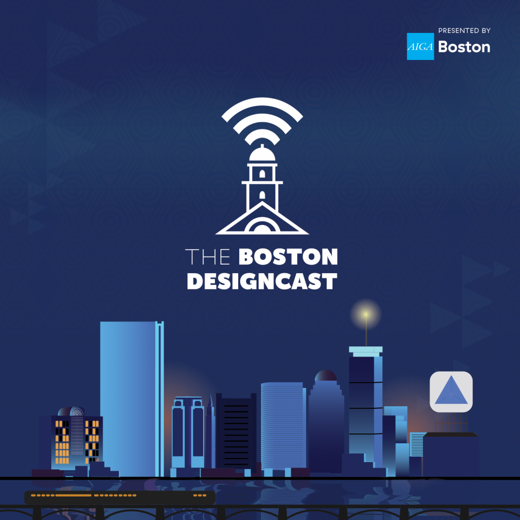 Podcast Artwork, A geometric minimalist Faneuil Hall hovers over an illustrated Boston Skyline. Text reads: The Boston Designcast
